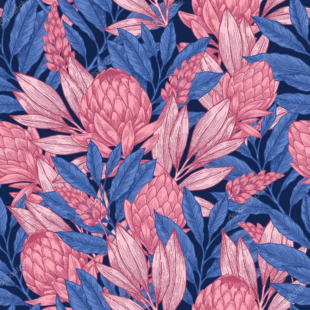 Dark protea seamless pattern. Linear sketchy style flower elements. Vintage fabric design.