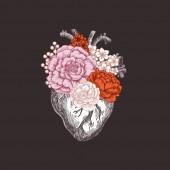 Fotografia Illustrazione dellannata di anatomia del tatuaggio. Floreale romantico cuore anatomico. illustrazione