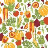Fotografie Papercut style vegetables seamless pattern. Organic vegetables.