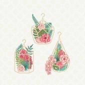 Üveg florarium, egzotikus flowrs, és a levelek. Esküvői meghívó illusztrációk. Arany ketrecek virágok. Vektoros illusztráció