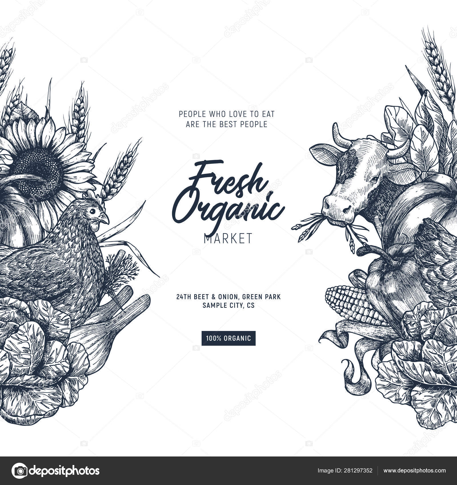 Summer rural design template  Fresh vegetables  Retro card
