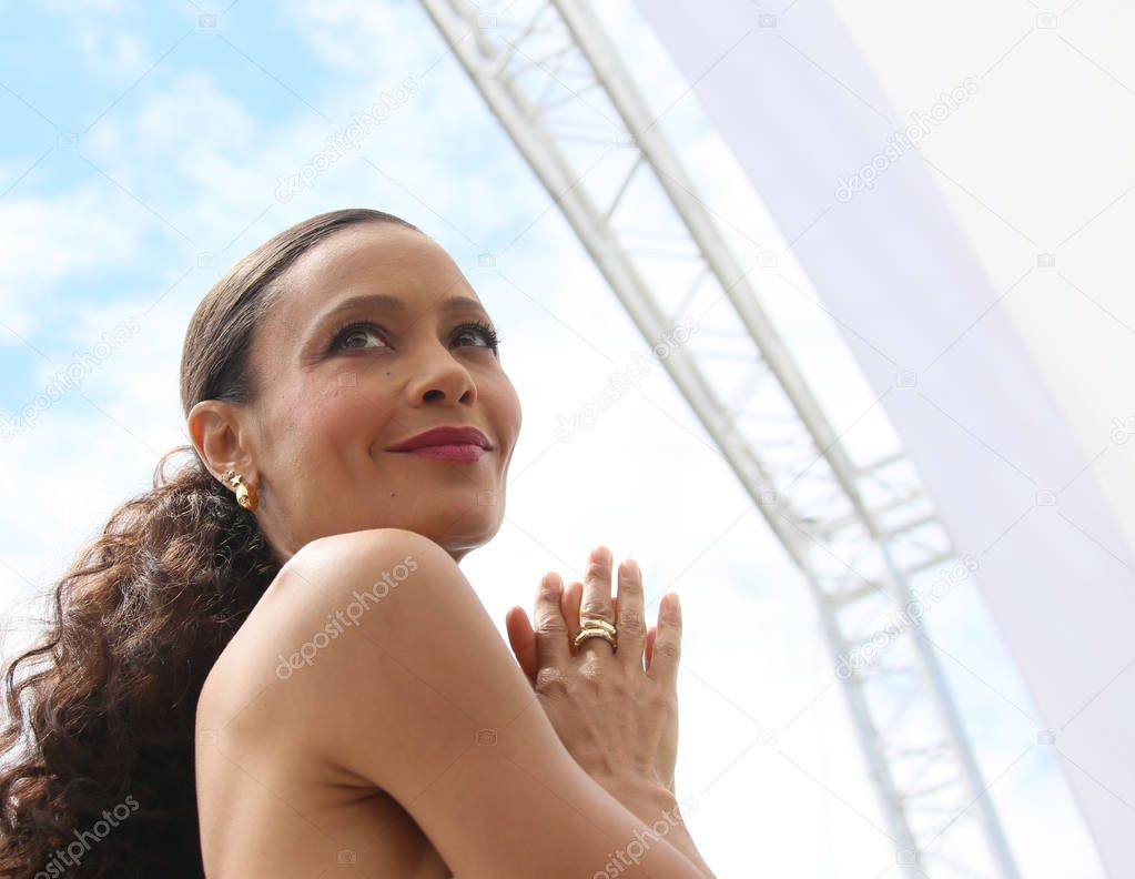 Thandie Newton attends the photocall for 'Solo: A Star Wars Story' during the 71st annual Cannes Film Festival at Palais des Festivals on May 15, 2018 in Cannes, France. stock vector