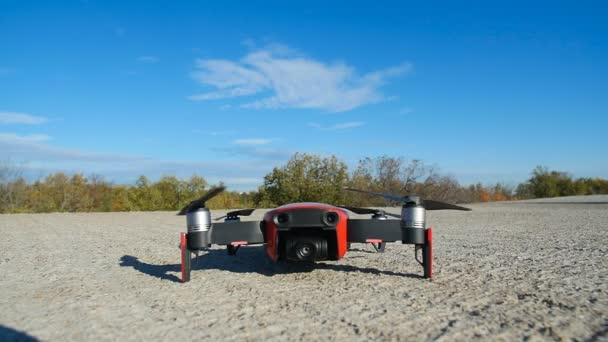 Personal Drone take off from land and flying. Aerial Photography and video Concept