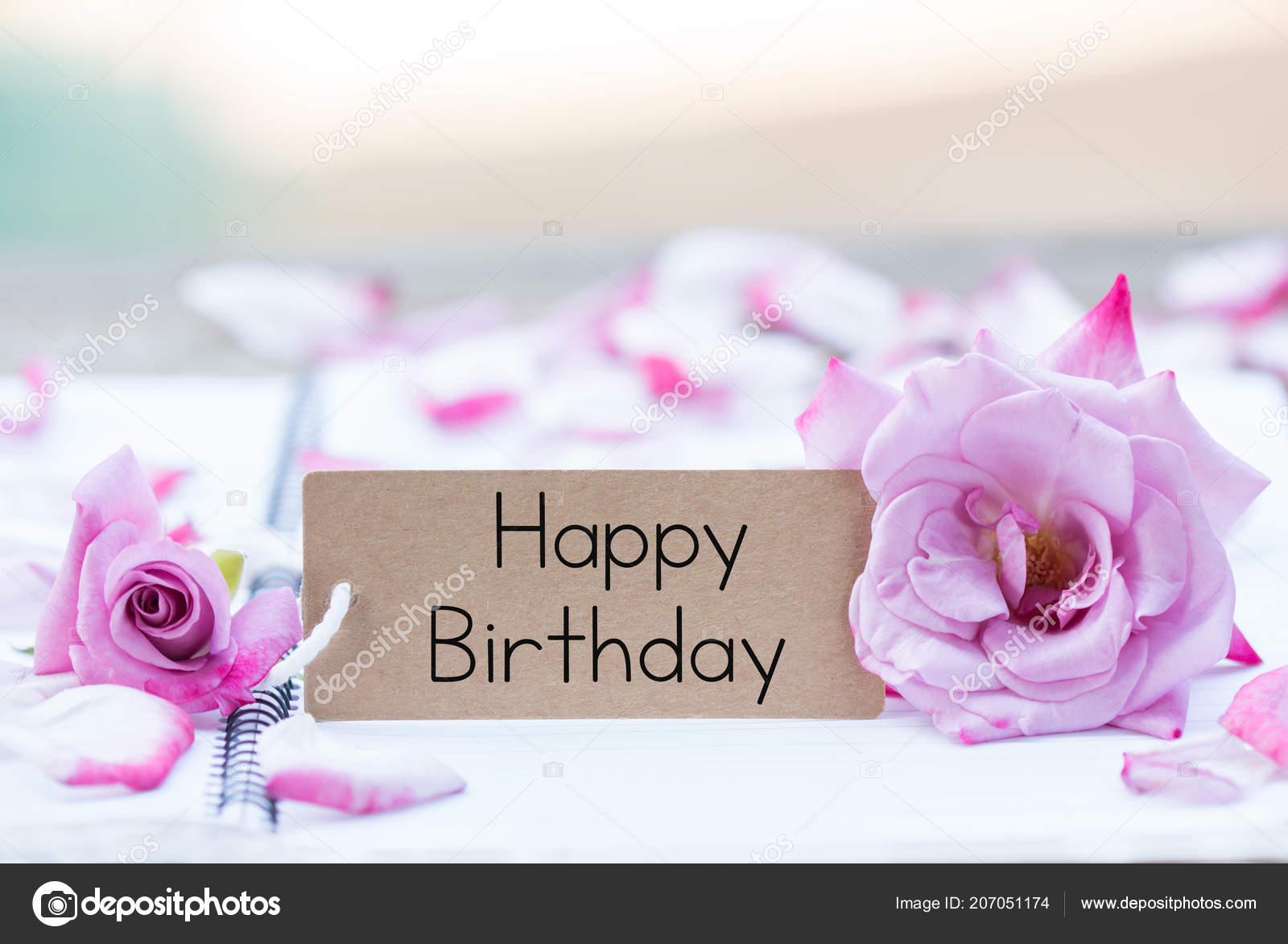Writing Happy Birthday Card Rose Notebook Stock Photo