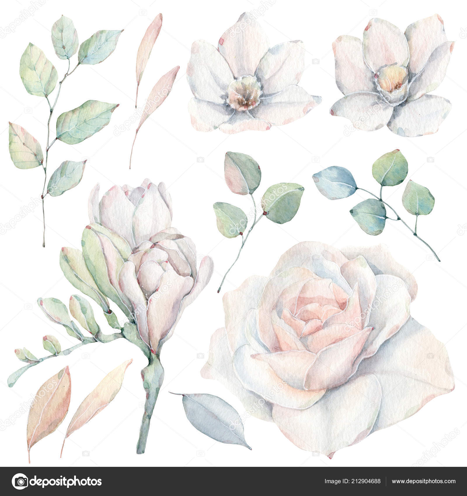Handbemalt Aquarelle Blumen Set Vintage Stil Ist Ideal Fur