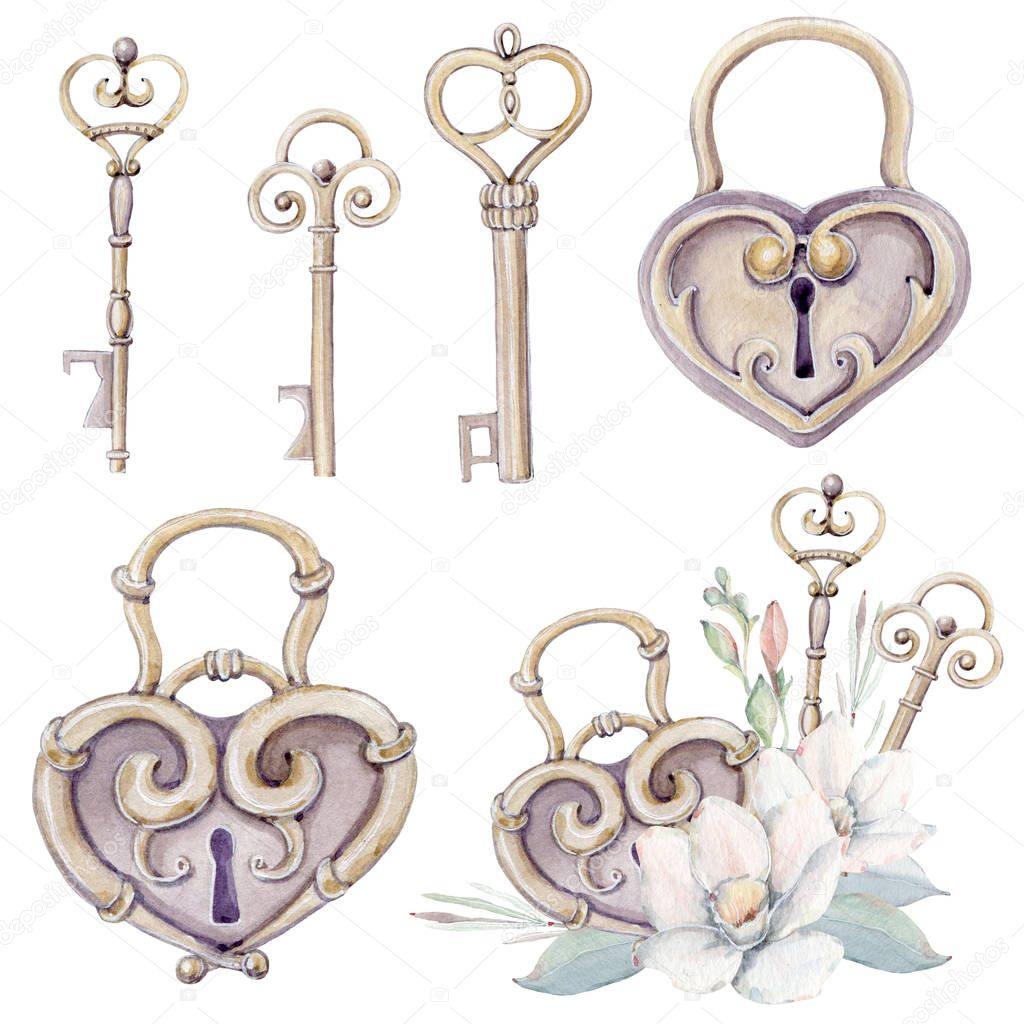 Watercolor vintage set with lock and keys. Perfect for wedding design, valentines cards, poster, print.