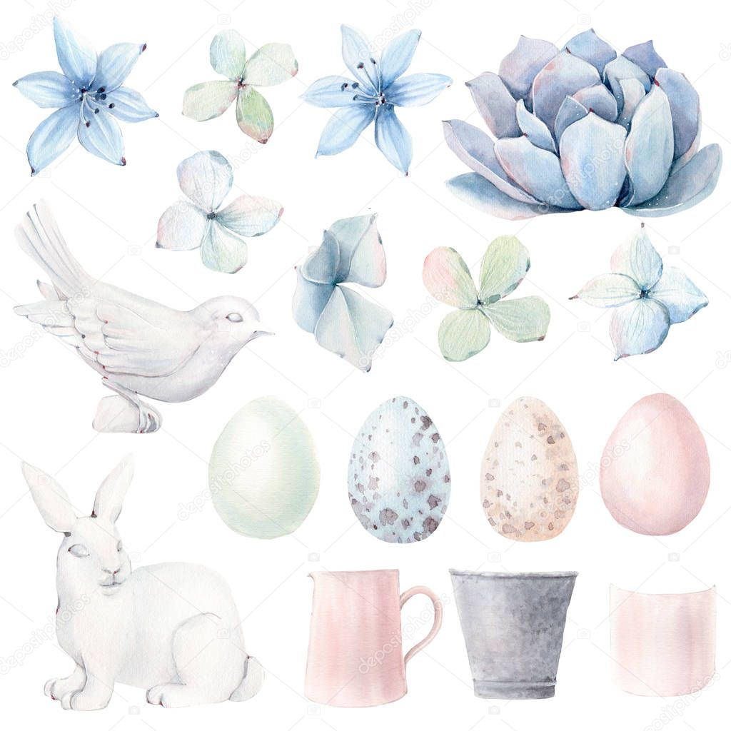 Watercolor spring  objects set in vintage style. It's perfect for greeting cards, wedding invitation, wedding design, birthday and easter cards. Watercolor botanical illustration.
