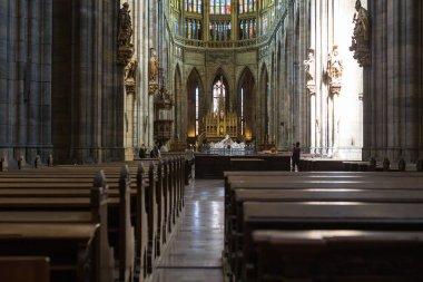 PRAGUE, CZECH REPUBLIC - JUNE 14, 2017: Interior of Saint Vitus Cathedral in Prague, Czech Republic