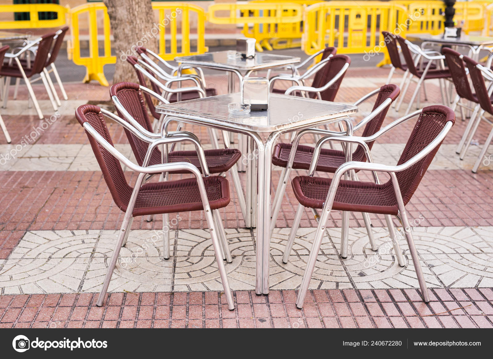 Cafe Coffee Shop Tavern And Restaurant Concept Outdoor Street Cafe Tables Ready For Service Stock Photo C Satura 240672280