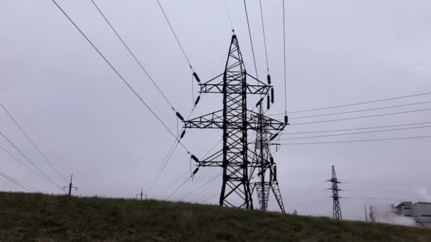 Silhouette, transmission, towers. Electricity Substation, Power Line, Power Station, Equipment, Cable.