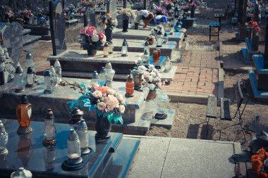 Tombstone, memorials and headstones in the graveyard