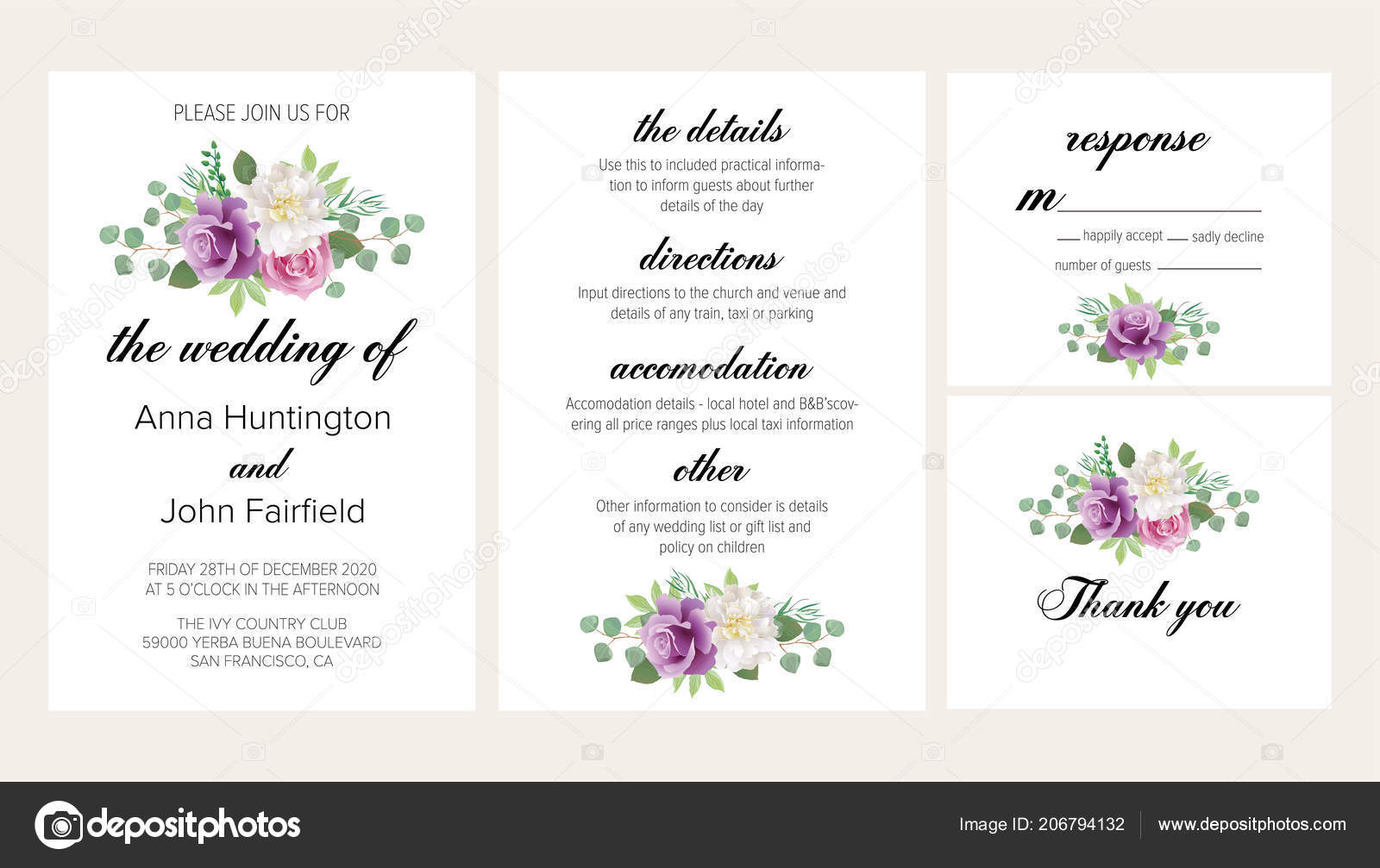 Beautiful Wedding Invitation Templates: Beautiful Floral Wedding Invitation Set Purple Roses White