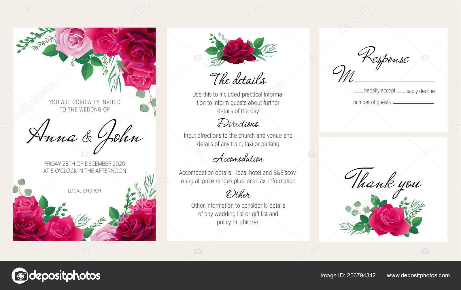 Wedding invitation templates purple | Elegant Floral Wedding Invitation Set  Purple Dark Red Pink Roses — Stock Vector © Elimika #206794342