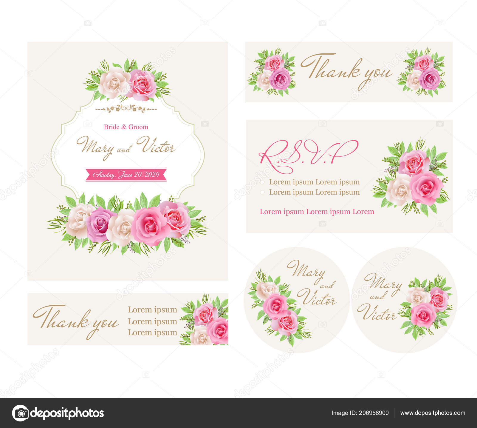 Cartes Invitation Mariage Avec Des Roses Roses Blanches