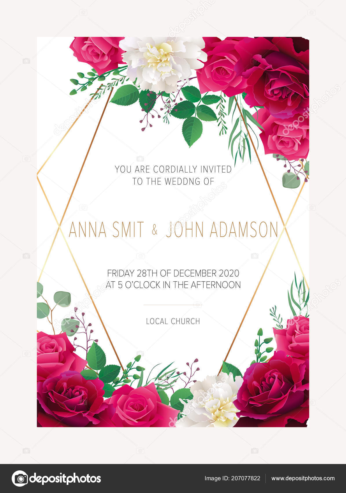 3c0924577c83c Invitación Floral Boda Excepto Diseño Tarjeta Fecha Con Flores Rosas ...