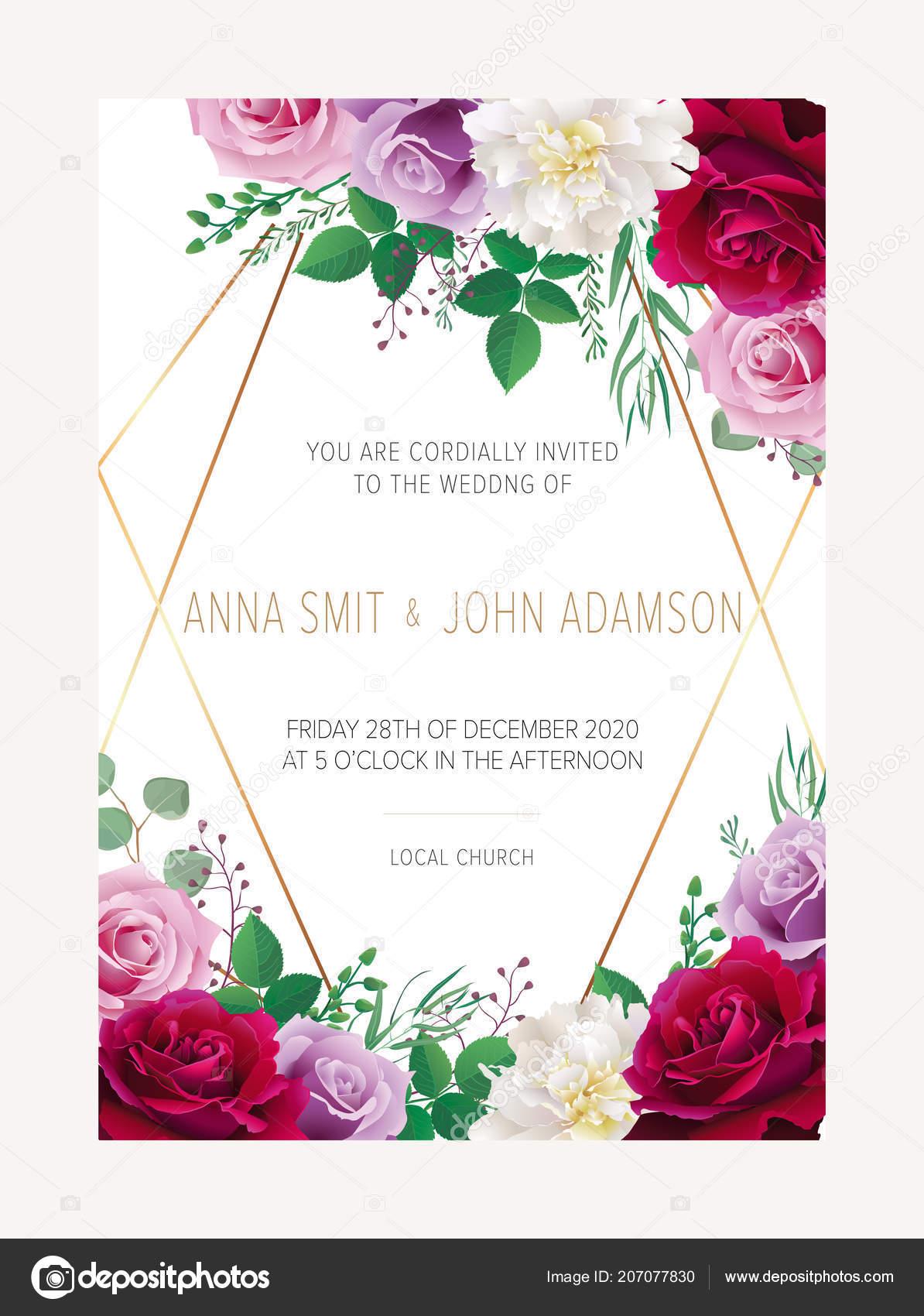 Wedding floral invitation date card design burgundy red purple wedding floral invitation date card design burgundy red purple garden vetores de stock stopboris Images