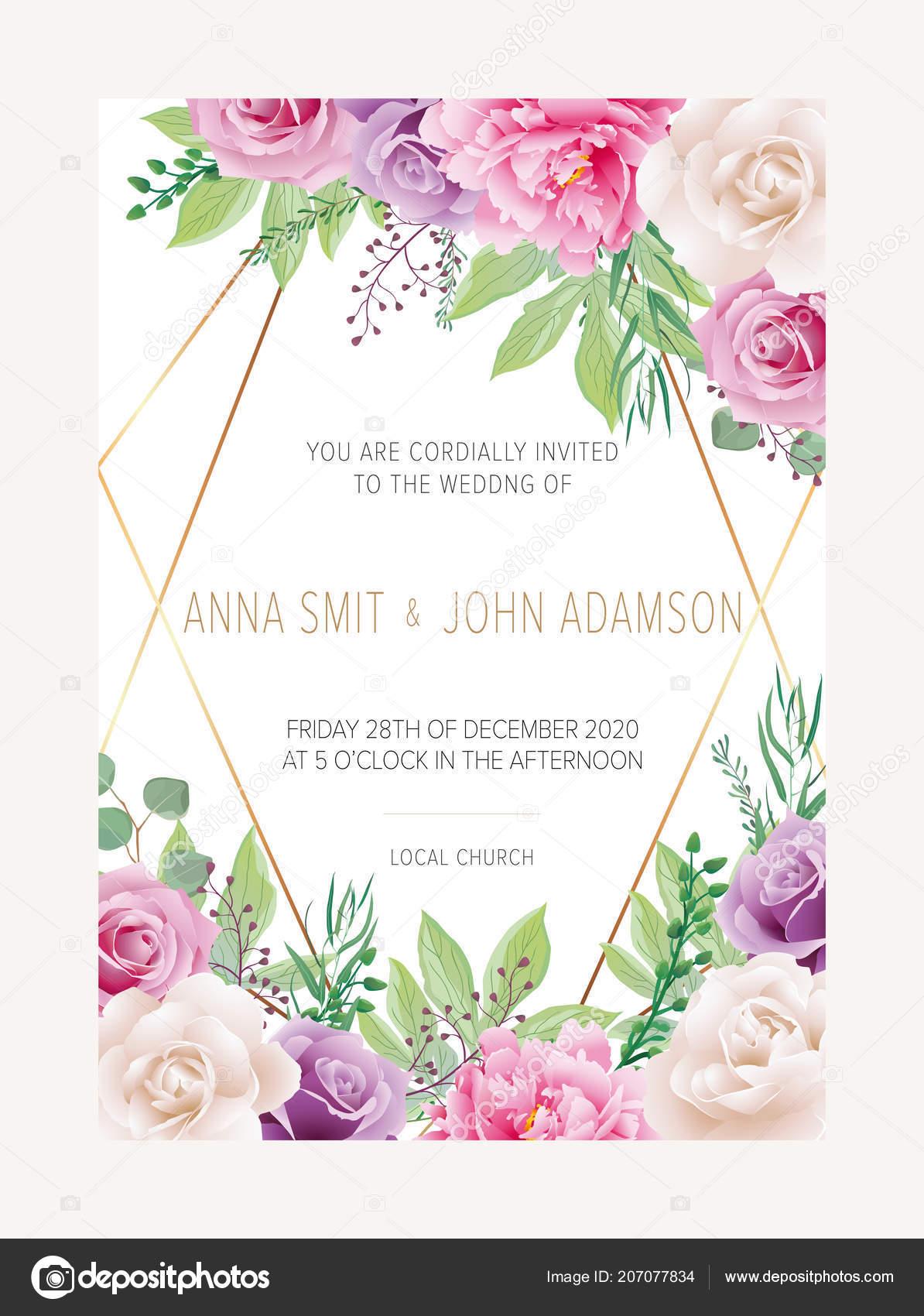 24120d3de2169 Invitación Floral Boda Excepto Diseño Tarjeta Fecha Con Flores ...