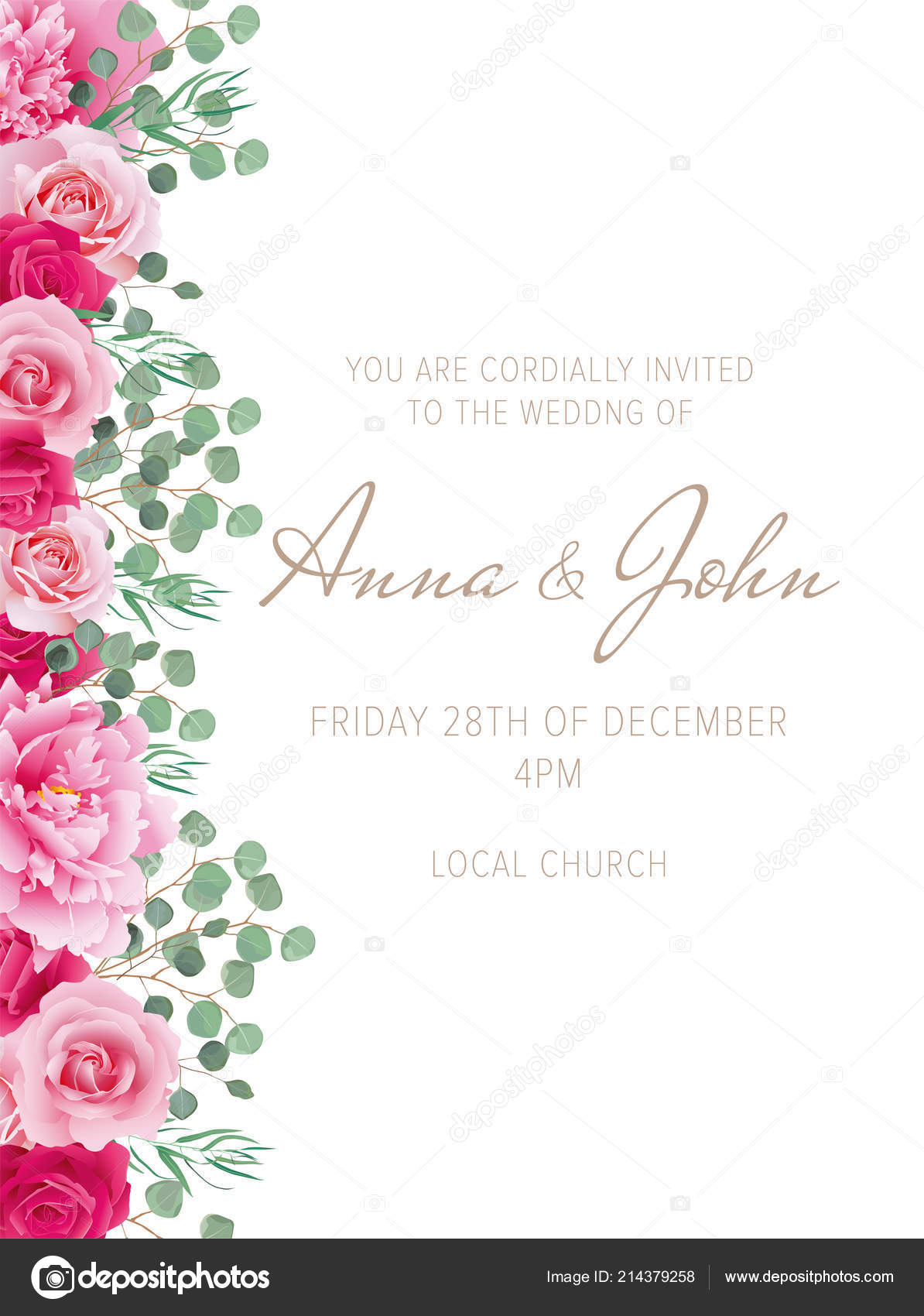 Invitación Boda Elegante Con Rosas Peonías Rosas Puede