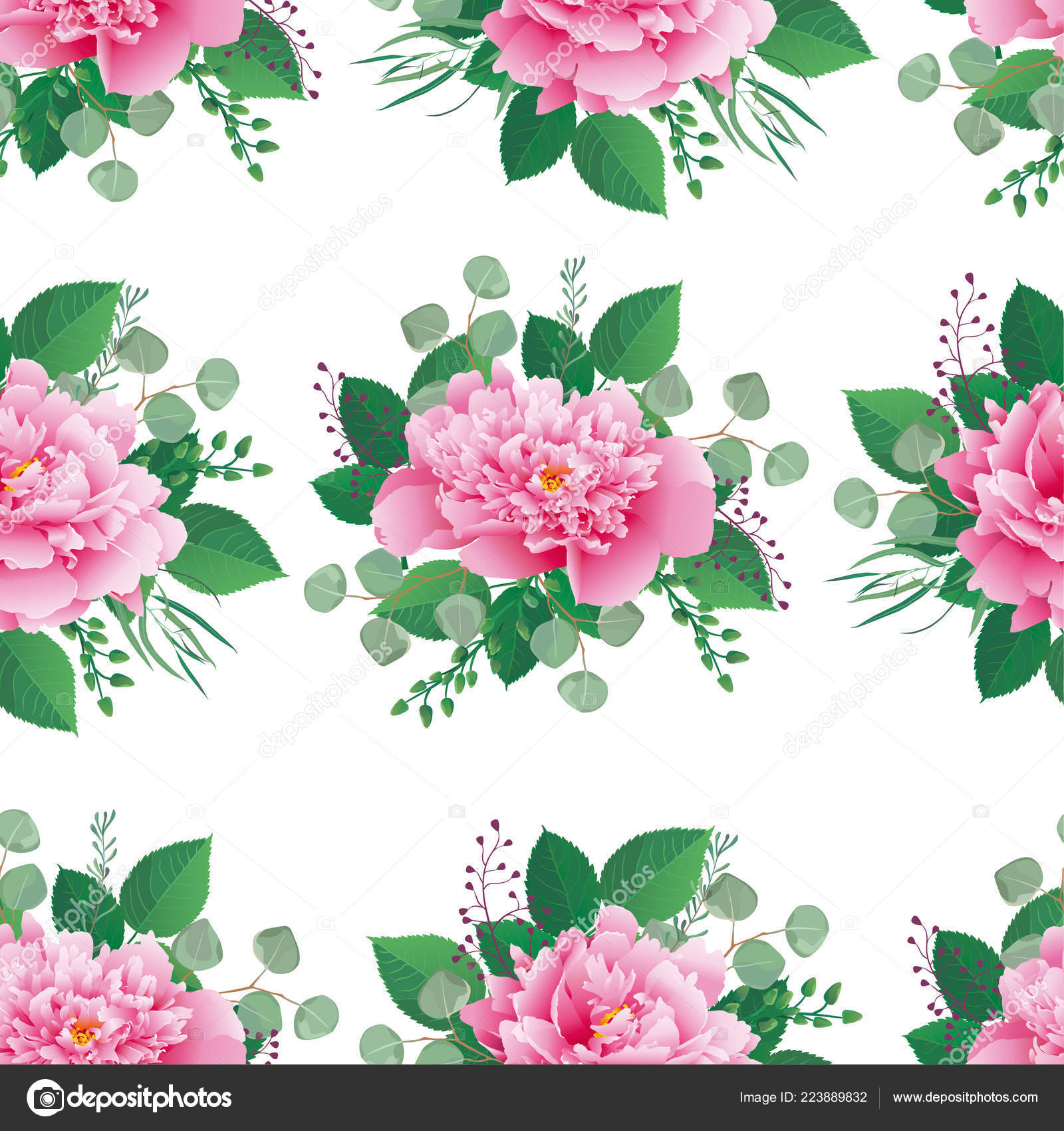 Seamless Floral Pattern Blush Pink Peonies Background Web Pages