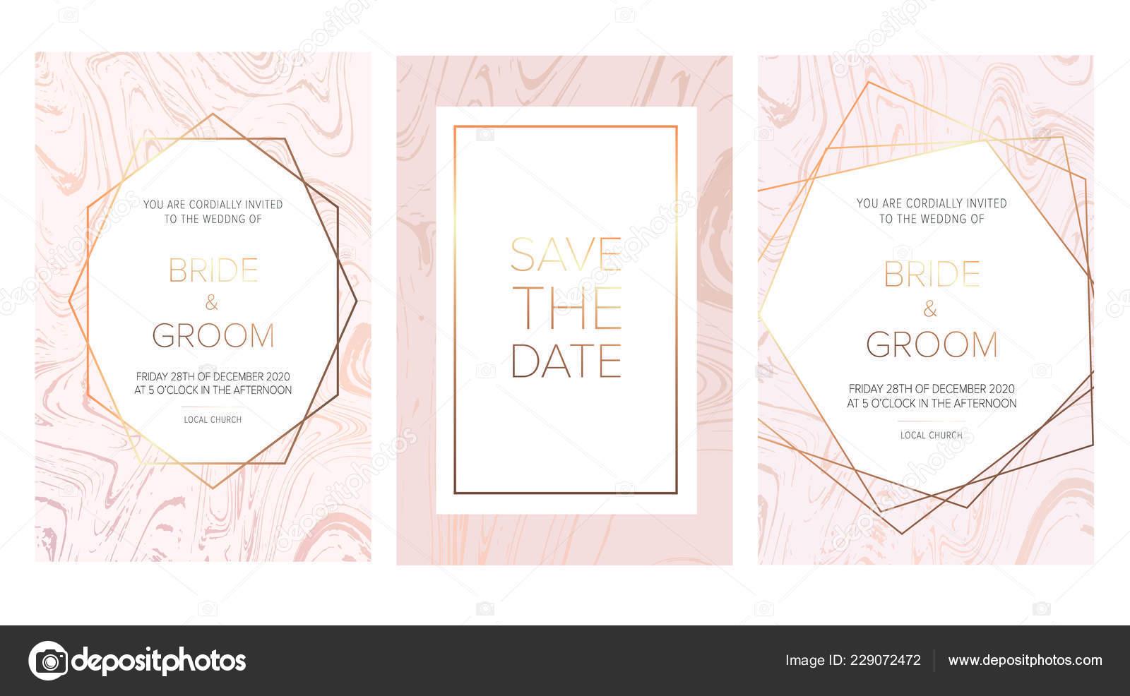 Luxury Wedding Invitation Cards Rose Marble Texture Gold Geometric