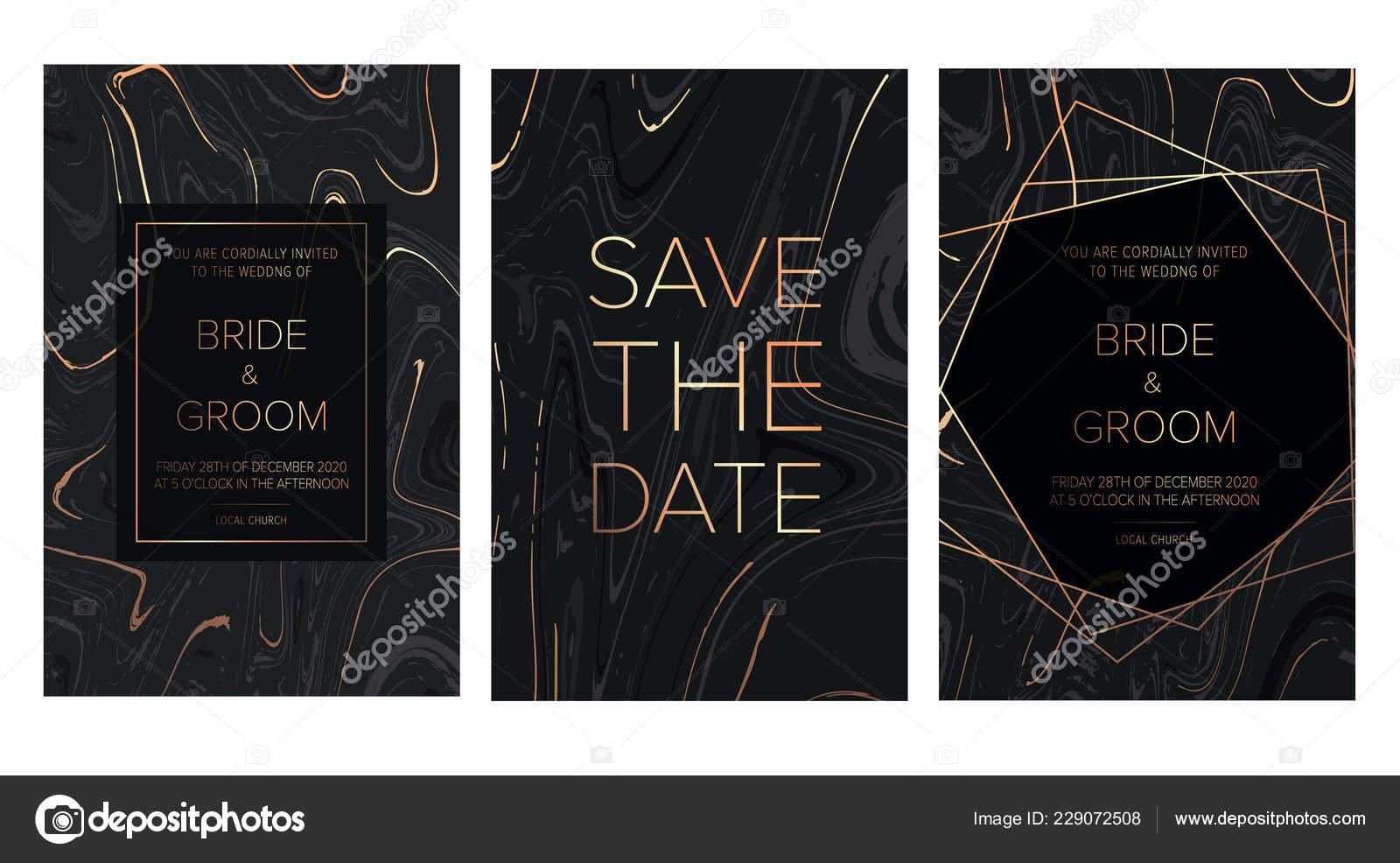 Luxury Wedding Invitation Cards Black Gold Marble Texture