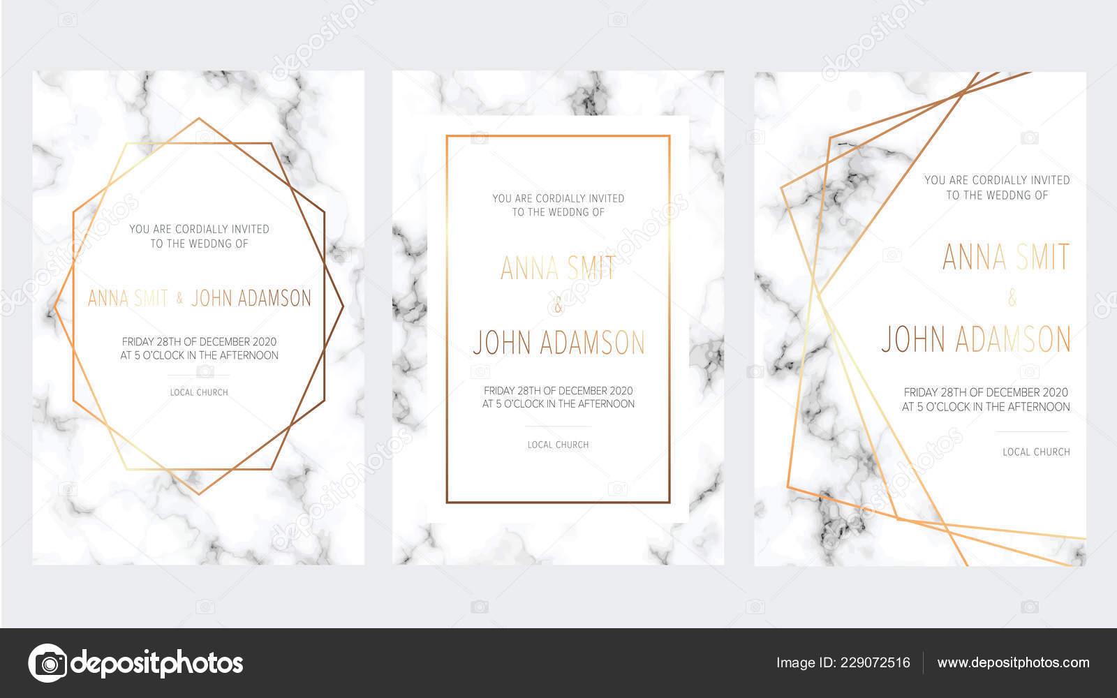 Tarjetas Invitación Con Textura Mármol Oro Patrón Geométrico