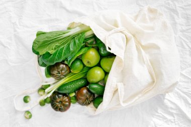 Fresh Organic Food Coming Out From Fabric Eco Shopping Bag, Top View, Flat Lay