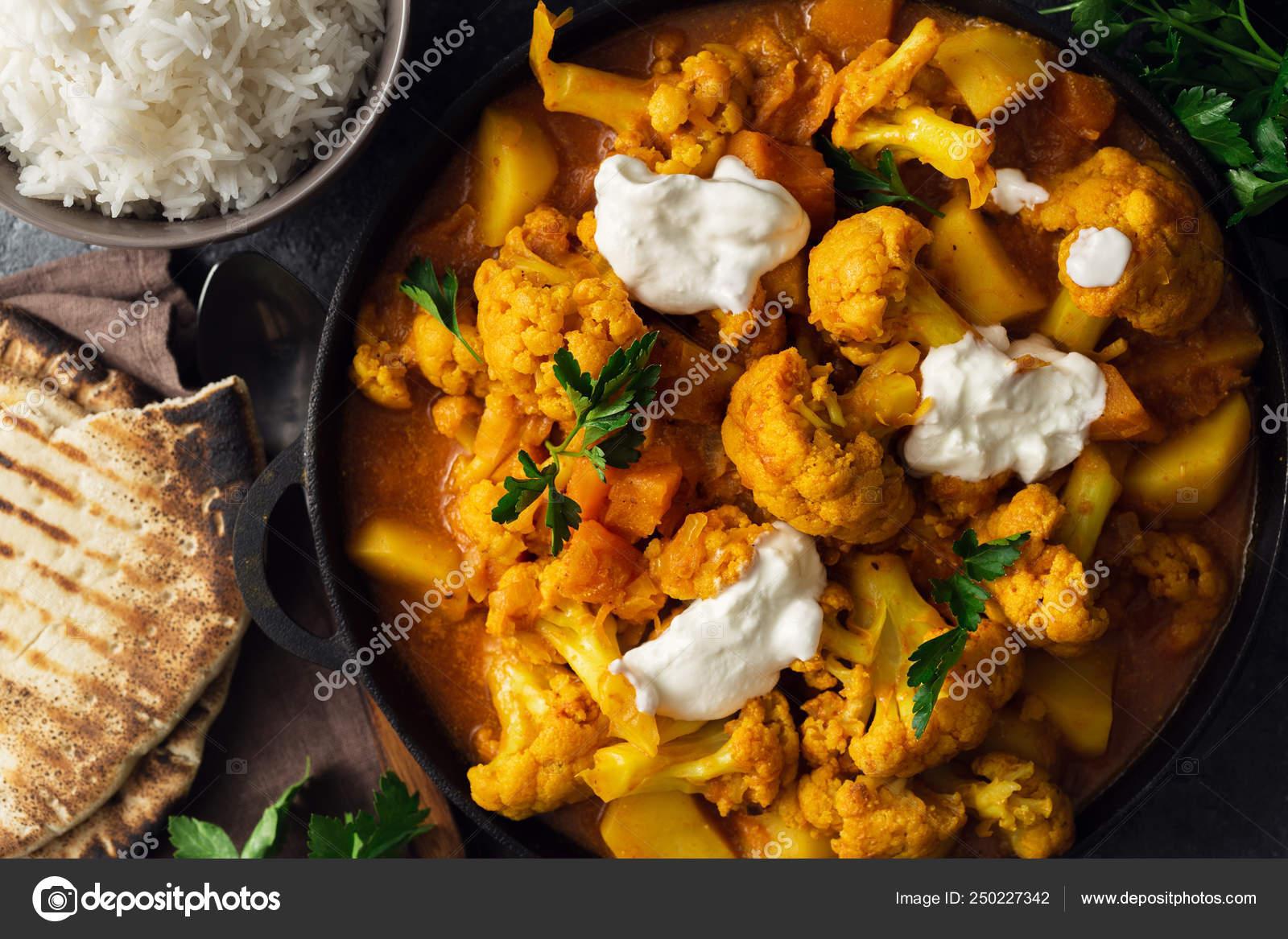 Vegetarian Indian Food Cauliflower Curry Basmati Rice Naan