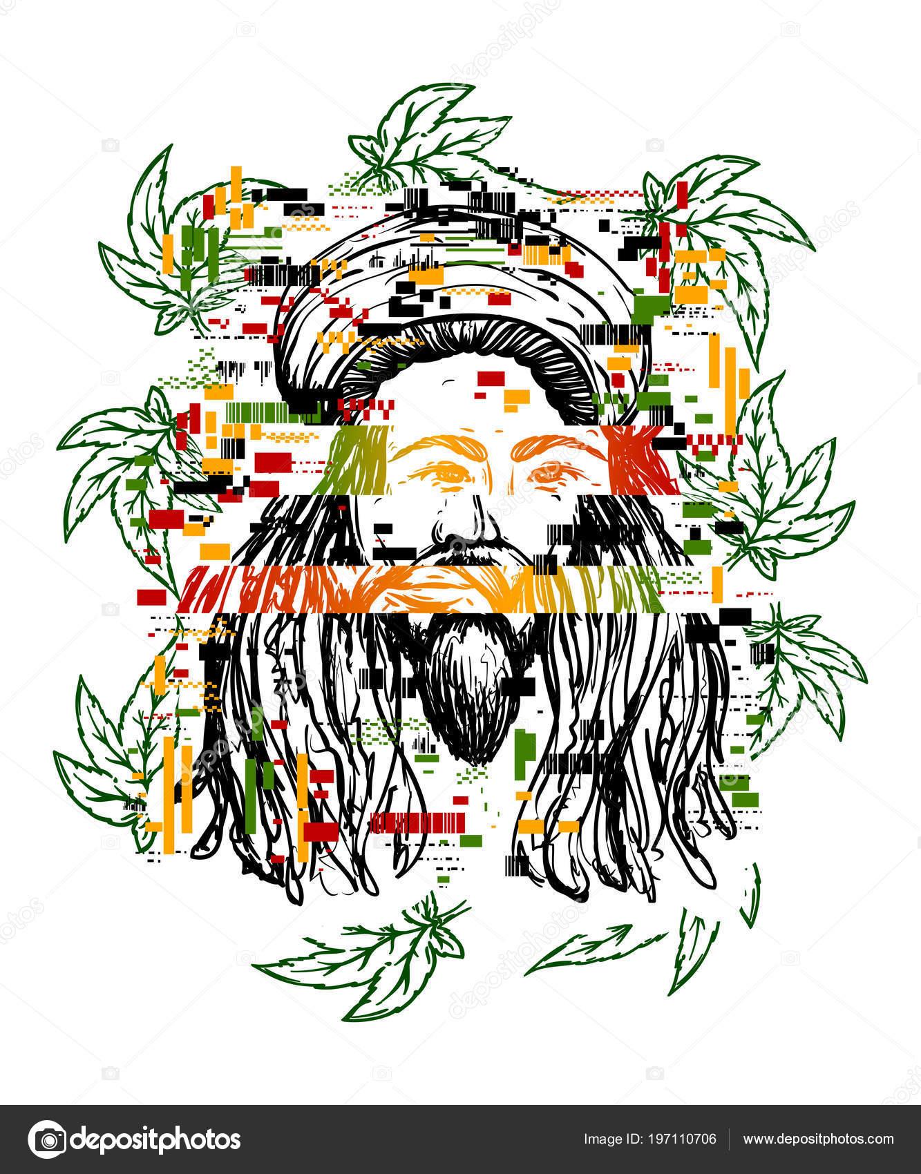 Tatouage Glitch Portrait Rastaman Avec Feuilles Cannabis