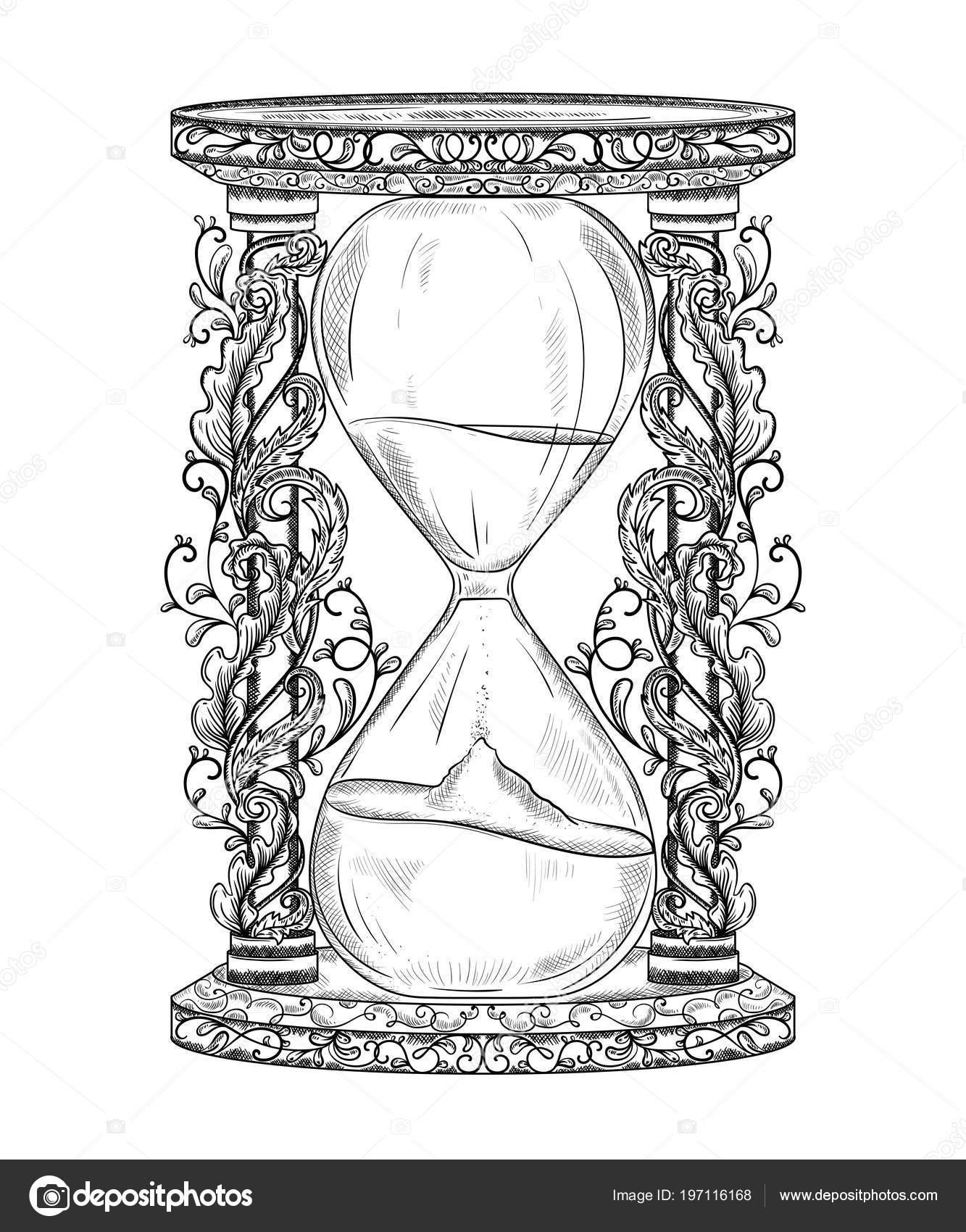 Vintage Reloj Arena Con Ornamento Floral Estilo Grabado Objeto