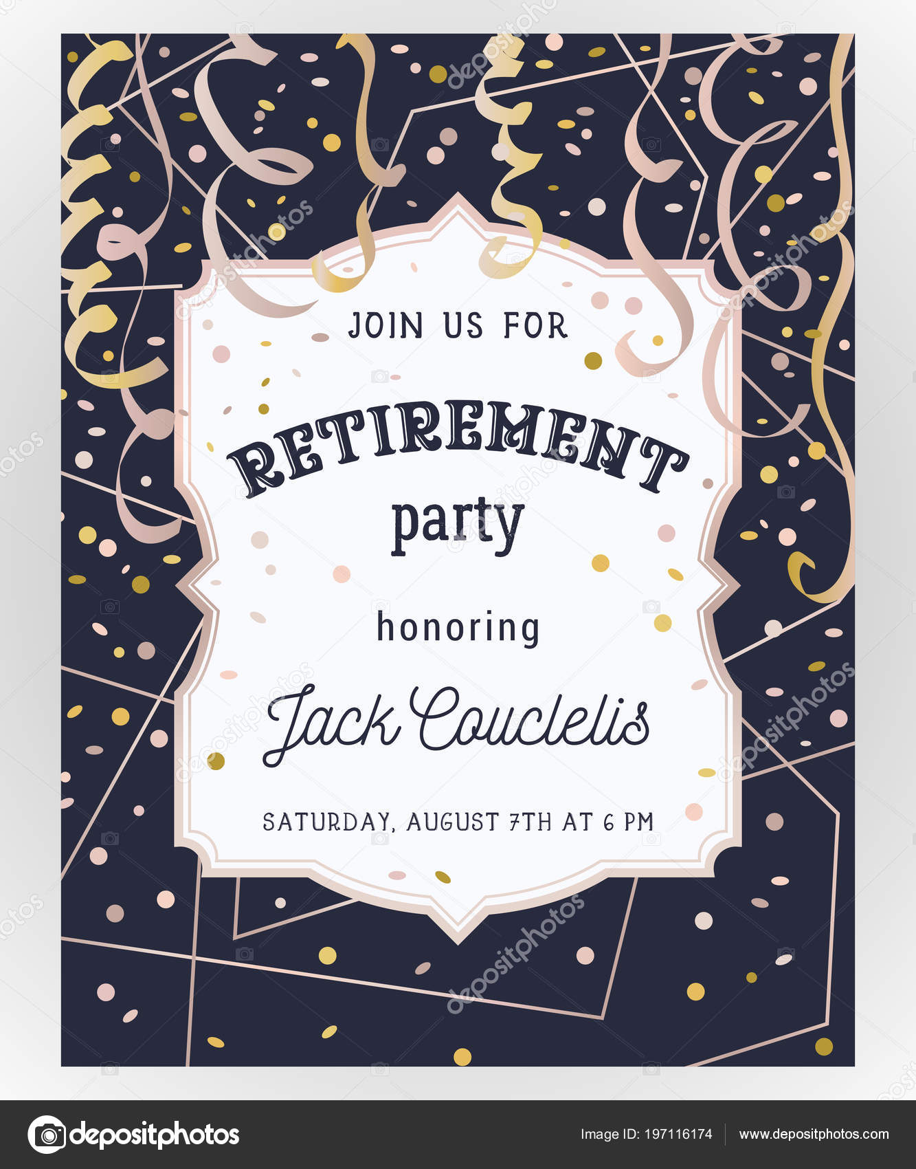 retirement party invitation design template rose gold polygonal