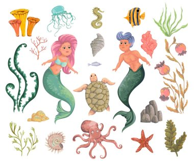 Mermaid, merman, marine plants and animals. Collection decorative design elements. Cartoon sea flora and fauna in watercolor style. Isolated objects on white background. Vector illustration