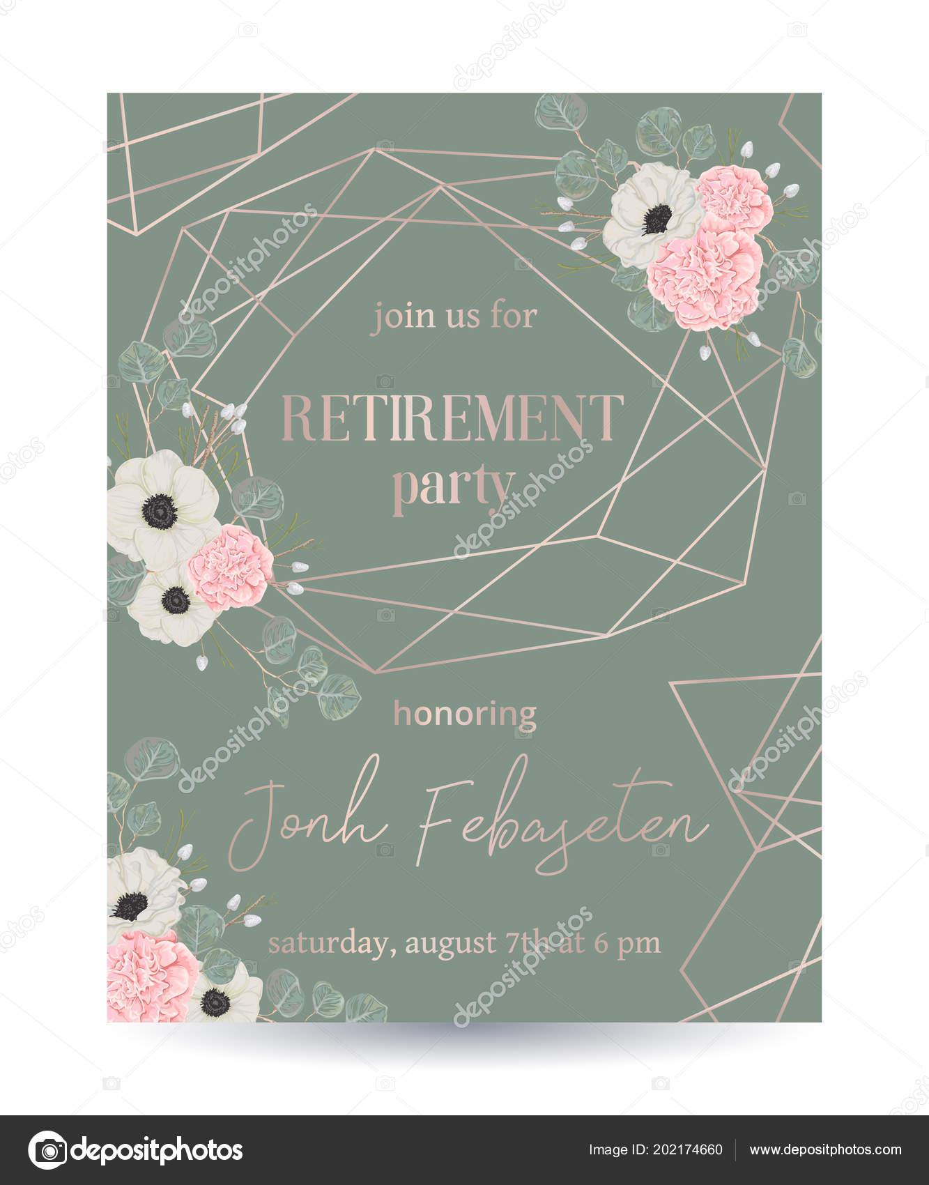 Retirement party invitation design template rose gold polygonal retirement party invitation design template rose gold polygonal frame floral vetor de stock stopboris Images