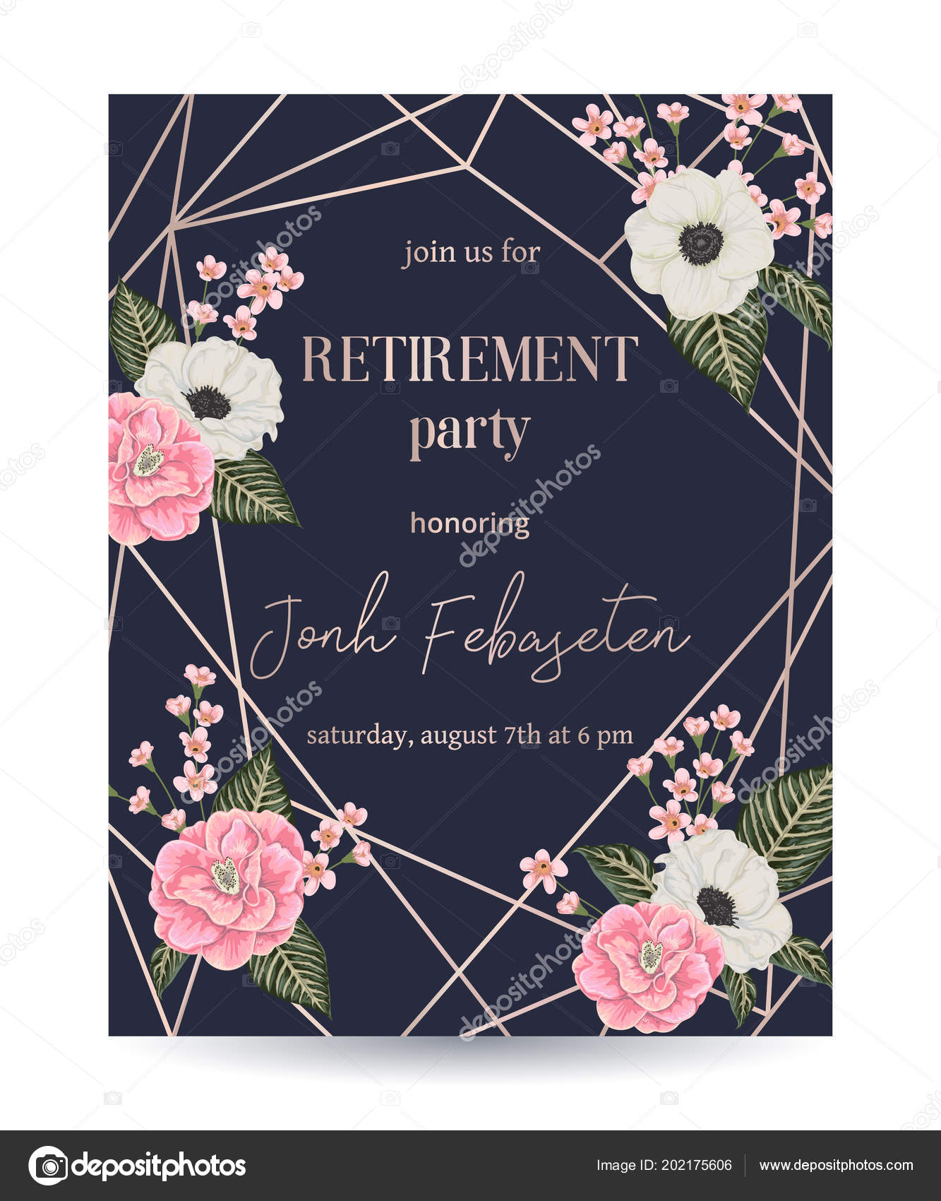 Retirement party invitation design template rose gold polygonal retirement party invitation design template rose gold polygonal frame floral vetores de stock stopboris Images