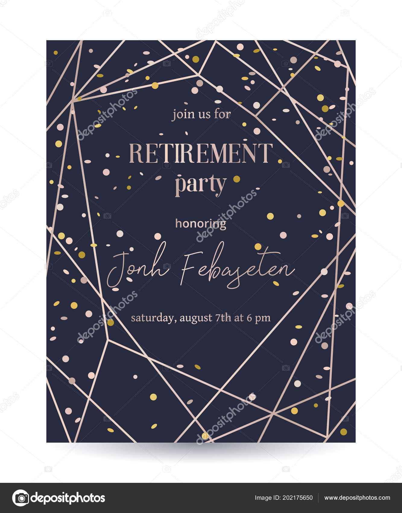 Retirement party invitation design template rose gold polygonal retirement party invitation design template rose gold polygonal frame confetti vetores de stock stopboris Image collections