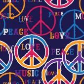 Hippie-Friedenssymbol. Frieden, Liebe, Musikzeichen. bunter Hintergrund. Designkonzept für Banner, Karte, Schrottbuchung, T-Shirt, Druck, Poster. Vektorillustration