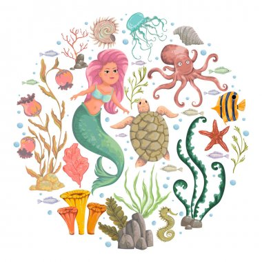 Mermaid, marine plants and animals. Collection decorative design elements. Cartoon sea flora and fauna in watercolor style. Isolated objects on white background. Vector illustration