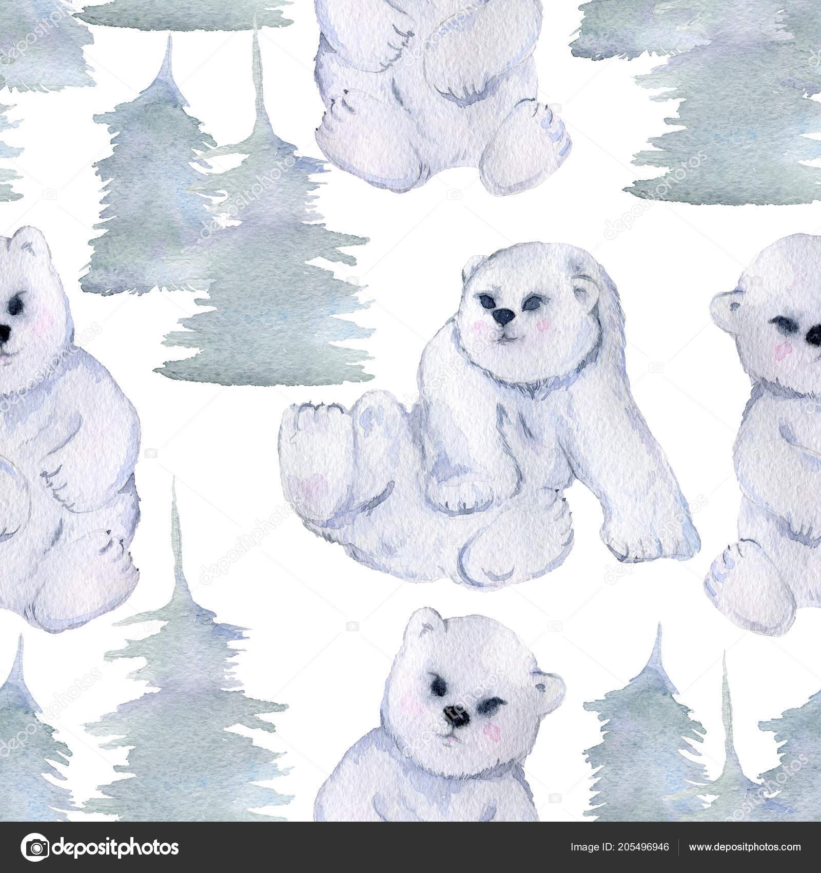 Seamless Pattern Roztomily Malo Polarni Medvedi Jedle Izolovane