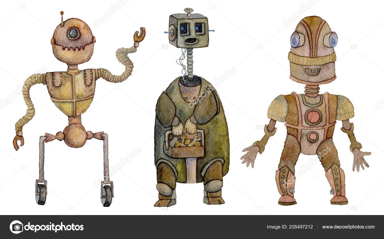 Conjunto Robôs Personagens Desenhos Animados Antigos Isolado