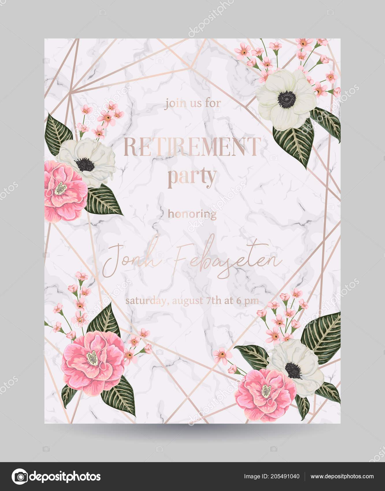 Retirement Party Invitation Design Template Rose Gold Polygonal