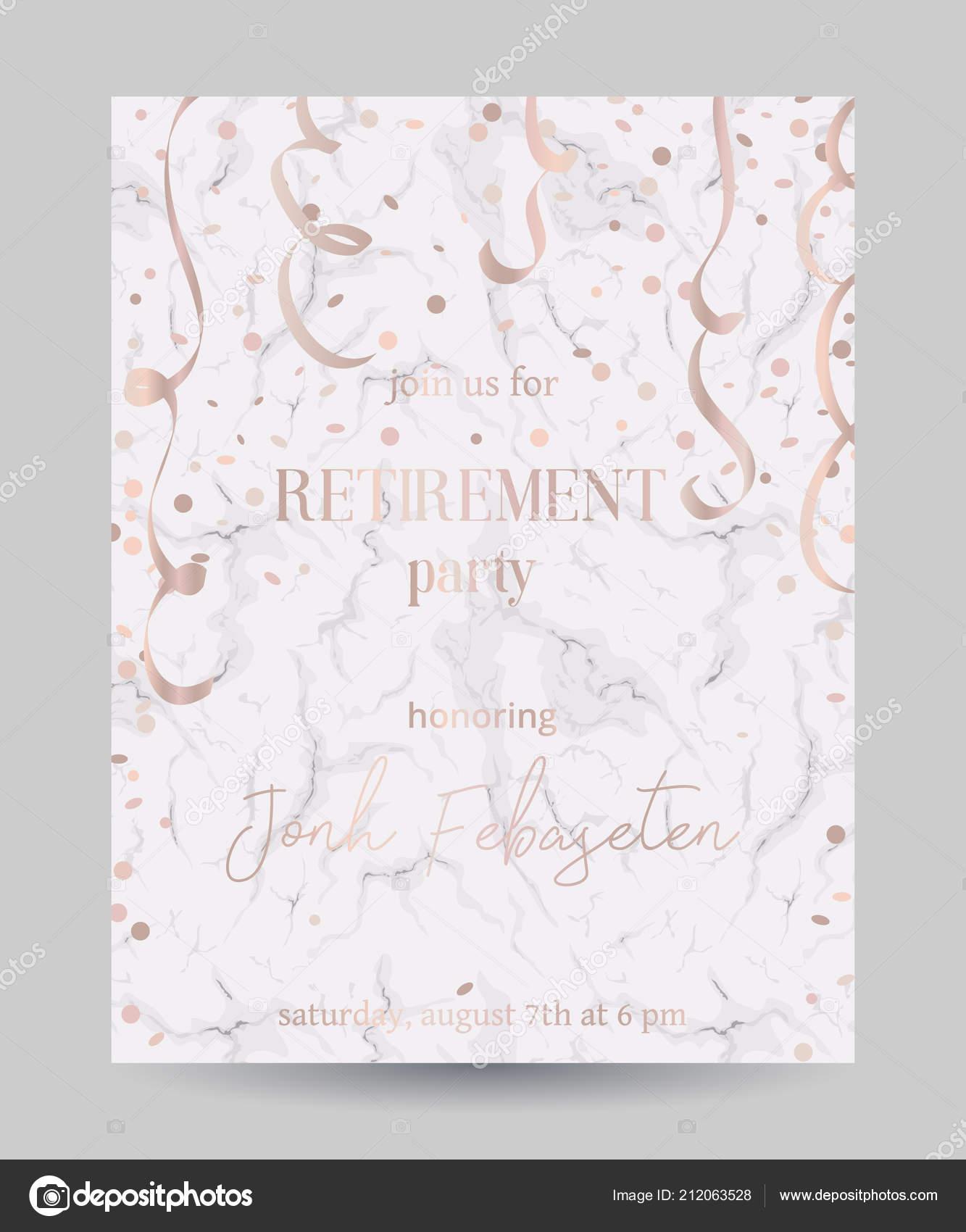 Invitación Fiesta Jubilación Plantilla Diseño Con Confeti