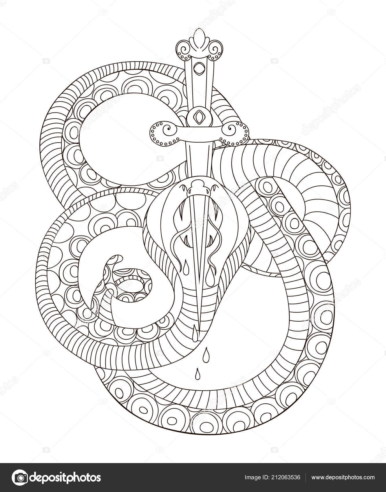 Wąż Mieczem Old School Styl Tatuaż Białym Tle Elementu