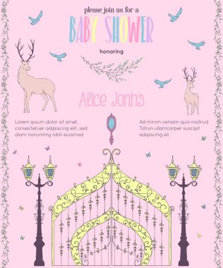 Baby shower invitation with gate, mirror, lantern, deers, birds and butterflies. Fairy tale theme. Vintage vector illustration
