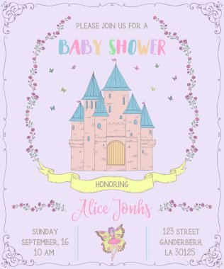 Baby shower invitation with castle, fairy, roses and butterflies. Fairy tale theme. Vintage vector illustration