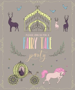 Fairy tale party invitation with gate, carriage, unicorn, deers and butterflies. Fairy tale theme. Vintage vector illustration