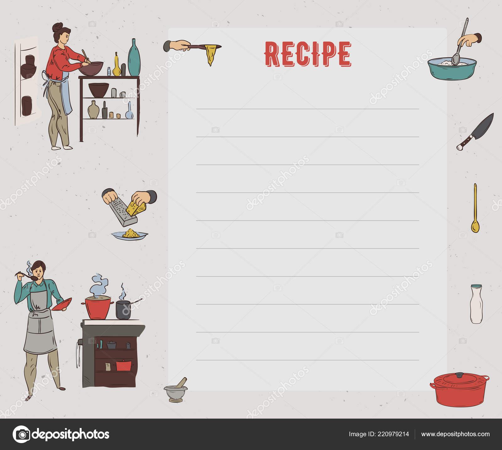 recipe card cookbook page design template people preparing meals