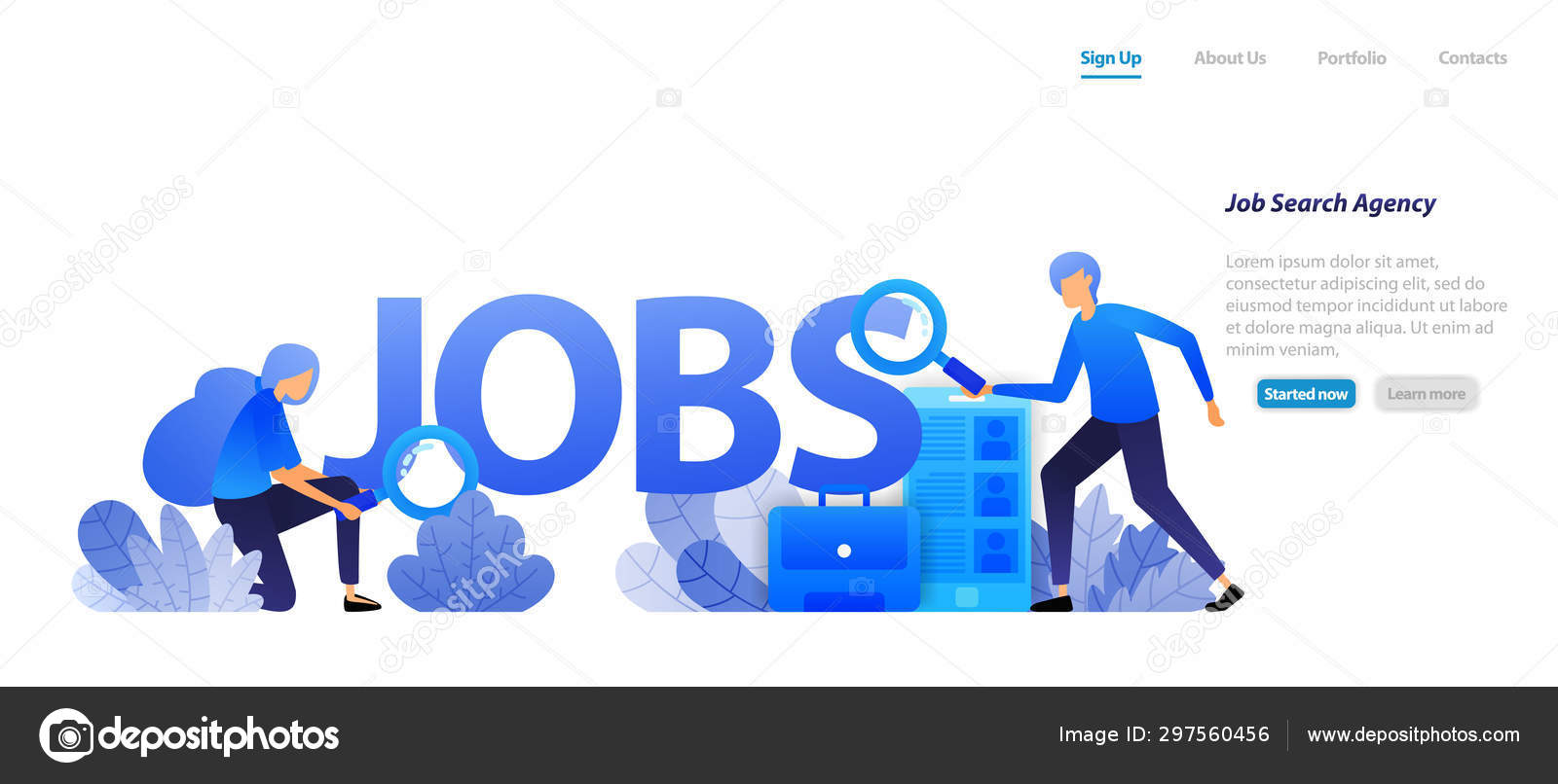 Agents Who Find Jobs Job Seekers Companies Need Professional Workers Stock Vector C Imamfathoni1234567890 297560456
