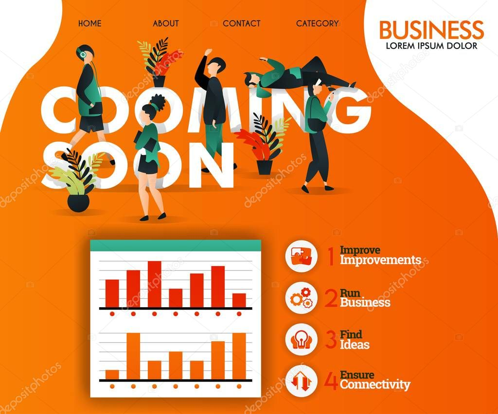 Coming Soon Writing With Orange And Flat Illustration Can Use For Landing Page Template Ui Web Mobile App Poster Banner Flyer Vector Illustration Online Promotion Internet Marketing Marketing Promotion Advertising Document