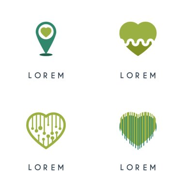 4 pack of green heart logo. Love logo for marketing, wedding promotion, application ad, love and romance. can use for matchmaking business digital technology and media, startup, company, engagement industry, event organizer icon