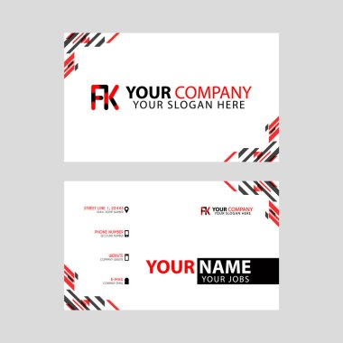 Modern business card templates, with FK logo Letter and horizontal design and red and black colors.